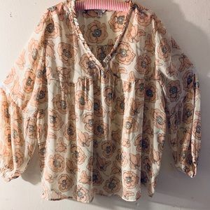 Lucky Brand Sheer Bell Sleeve Print Blouse Size 3X